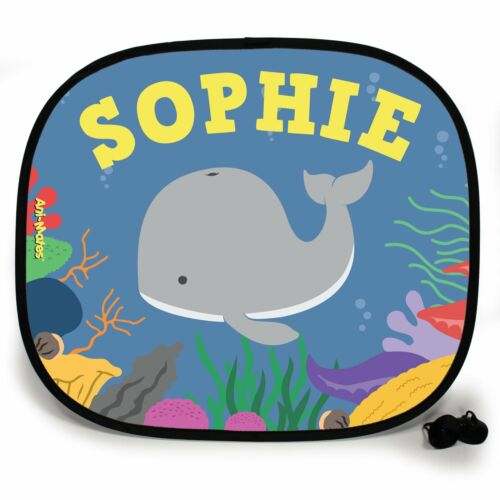 WHALE UNDER THE SEA PERSONALISED CAR SUN SHADE Window Kids baby birthday gift
