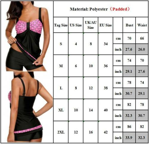 Damen Bikini Tankini mit Hotpants Shorts Push Up Bademode Badeanzug Schwimmanzug