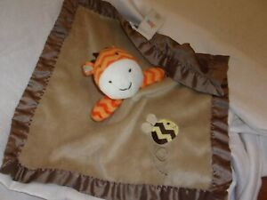 circo-BABY-BLANKET-plush-security-lovey-tan-brown-bee-giraffe-satin-13-034