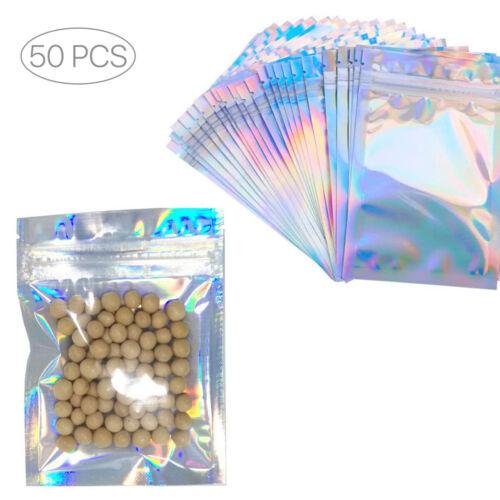 50Pcs Holographic Aluminum Foil ZipLock Mylar Bags Resealable Valve Zipper Pouch