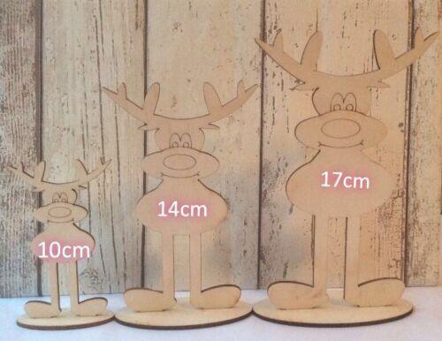 cute freestanding wood laser cut Rudolph reindeer on a plinth lovely gift