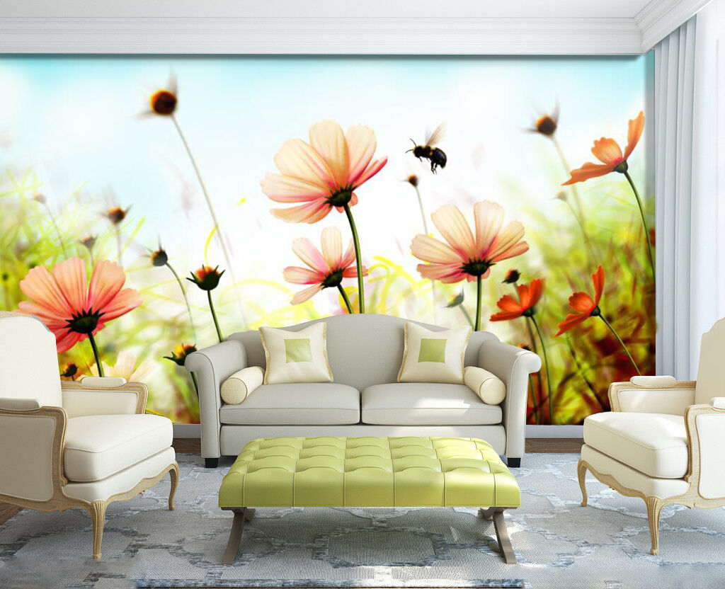 3D Flowers And Bees 119 Wallpaper Decal Dercor Home Kids Nursery Mural Home