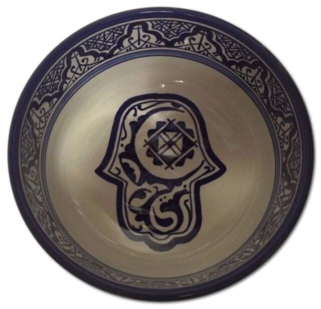 Moroccan Khamsa Hamsa Hand Design Cobalt Blue & White Serving Pasta Soup Bowl
