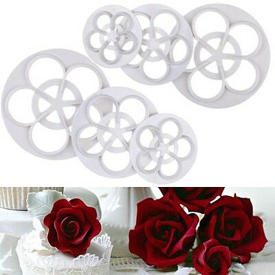 DIY Fondant Cake Rose Flower Decorating Cookie Mold Gum Paste Cutter Tool New HS