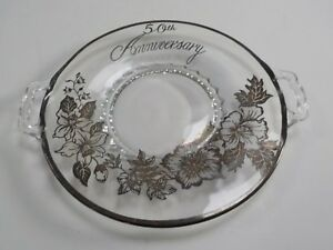 Vintage-silver-rimmed-50th-Anniversary-cake-plate
