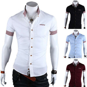 457152cfc UK Luxury Mens Short Sleeve Shirts Casual Formal Dress Slim Fit ...