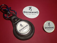 BROWNING `THE BEST THERE IS`  GUNS:  LEATHER KEY RING, BADGE &  FREE  STICKER