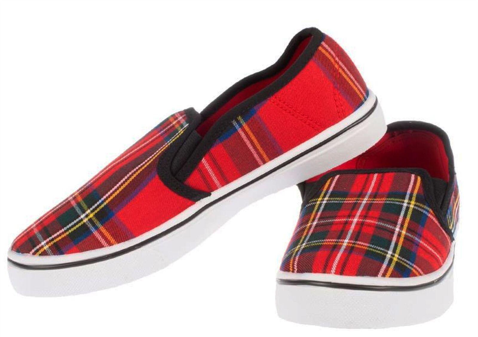 Unisex Canvas shoes in Stewart Royal Tartan Design Size 7