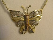 """Unique 14k Solid Gold Petite Butterfly Necklace -16"""" Long - Lobster Clasp #901"""