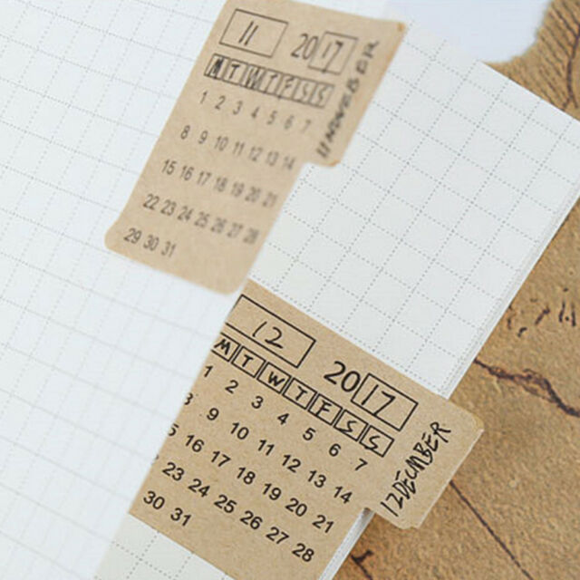 4 Sheets Novelty Retro Kraft Paper Handwritten Calendar Index Sticker