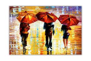 AT54378D Night Umbrella By Leonid Afremov Oil Painting Re-Print Poster Art Print