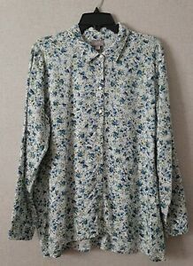 J-Jill-Womens-Size-Large-Top-Long-Sleeve-Button-Front-Floral-Casual
