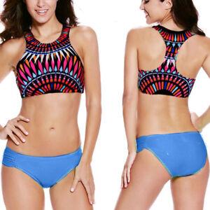 802ff53253 Neon Blue Aztec Print High Neck Razor Back Bikini Beach Swimsuit ...