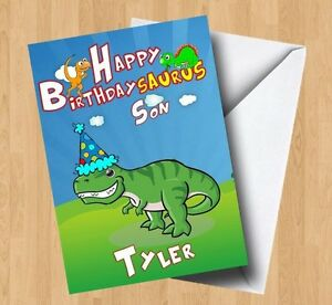 Image Is Loading Personalised Dinosaur T Rex Birthday Card Son Grandson