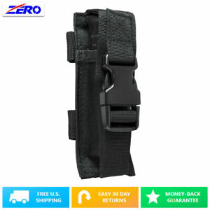 Black Single Pistol Double Stack Magazine Clip Pouch MOLLE Gear PALS Belt PVC