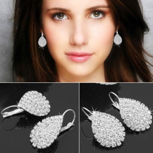 Femmes Charme Argent 925 Bijoux Blanc Sapphire Mariage Dangle Goutte d/'eau Boucles D/'oreilles