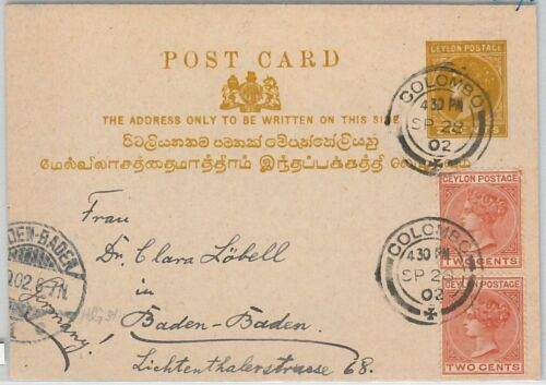 51814 CEYLON POSTAL HISTORY STATIONERY CARD with added stamps to GERMANY