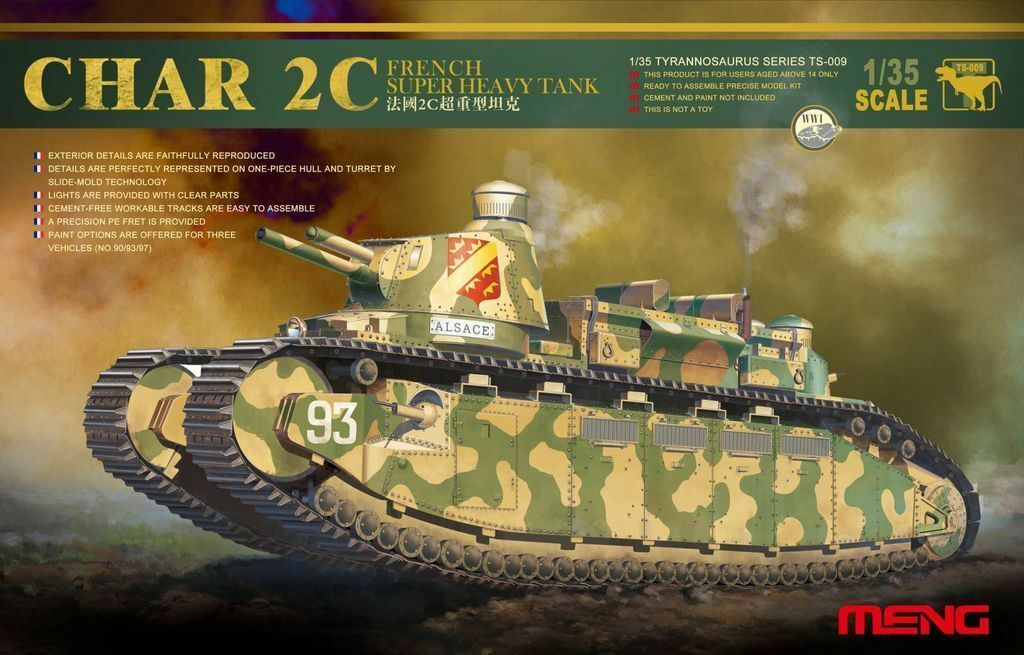 Meng Model 1 35 TS-009 French Super Heavy Tank CHAR 2C w Xtras Super WAR