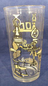 Vintage 8 oz Glass with Parlor Fireplace Hearth  Rocking Chair L-22