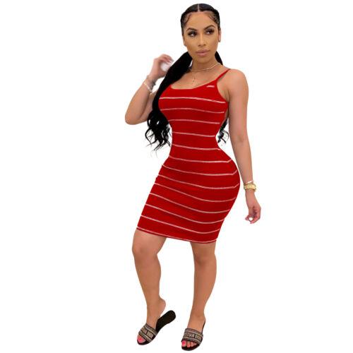 US Fashion Women Backless Sleeveless Stripe Print Suspender Bodycon Midi Dress