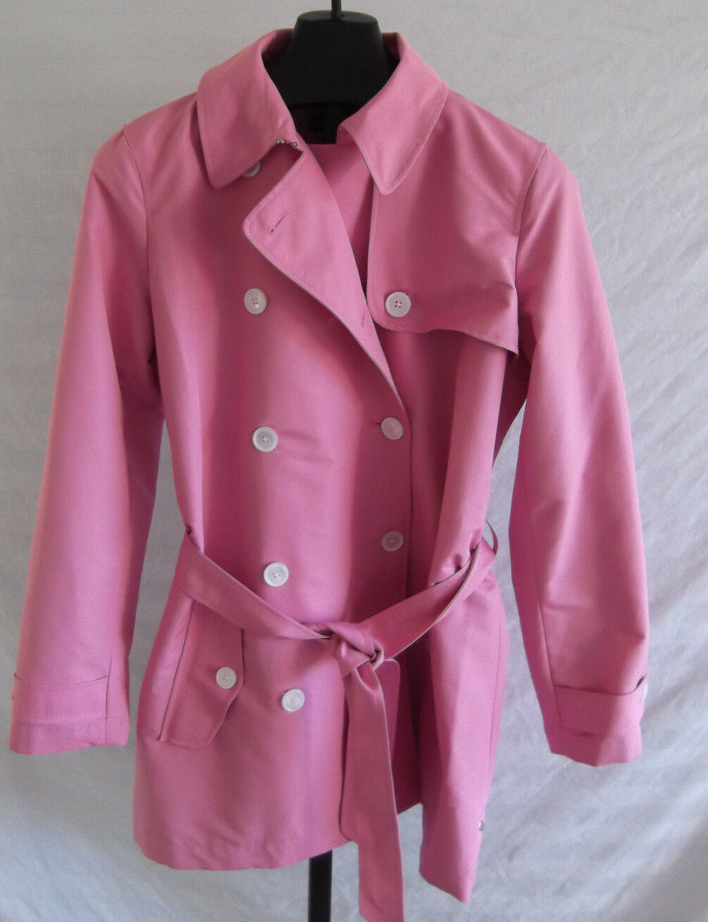 NWT Lauren Ralph Lauren Pink Water Resistant Trench Raincoat Size L DB breasted