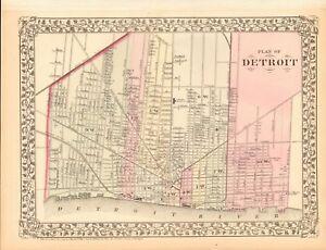 Detroit In Usa Map.1874 Antique Map Usa Plan Of Detroit Ebay