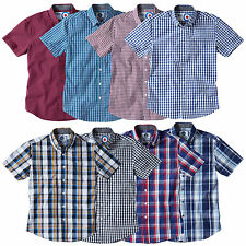 Charles Wilson Men's Cotton Gingham Check Short Sleeve Casual Shirt Top New 2016