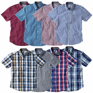 Charles-Wilson-Men-039-s-Cotton-Gingham-Check-Short-Sleeve-Casual-Shirt-Top-New-2016