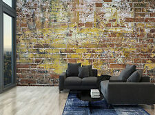 Retro Old Stone Brick Brown Wall Mural Photo Wallpaper GIANT WALL DECOR