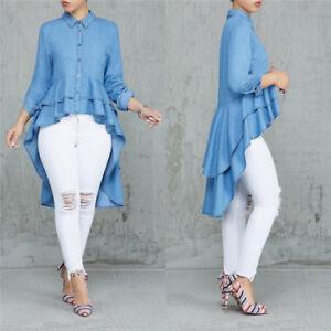 Details about Fashion Women Shirt Dress Light Blue Denim Dress XL XXL Plus  Size Peplum Dresses