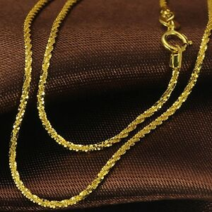 """15.7/""""L New Pure 18K Yellow Gold Necklace Fine Lucky O Link Woman Fashion Chain"""