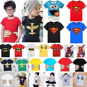 Enfants-Garcon-Fille-Dessin-anime-T-shirt-Ete-Manche-courte-Hauts-Coton-T-shirts