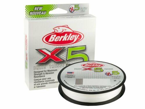 Berkley X5 Braid Crystal 300m 328yds 0.12-0.20mm Braided line NEW 2020