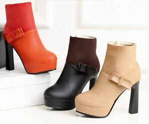 stivali stivaletti invernali beige scarpe donna tacco 10.5 cm simil pelle 8783