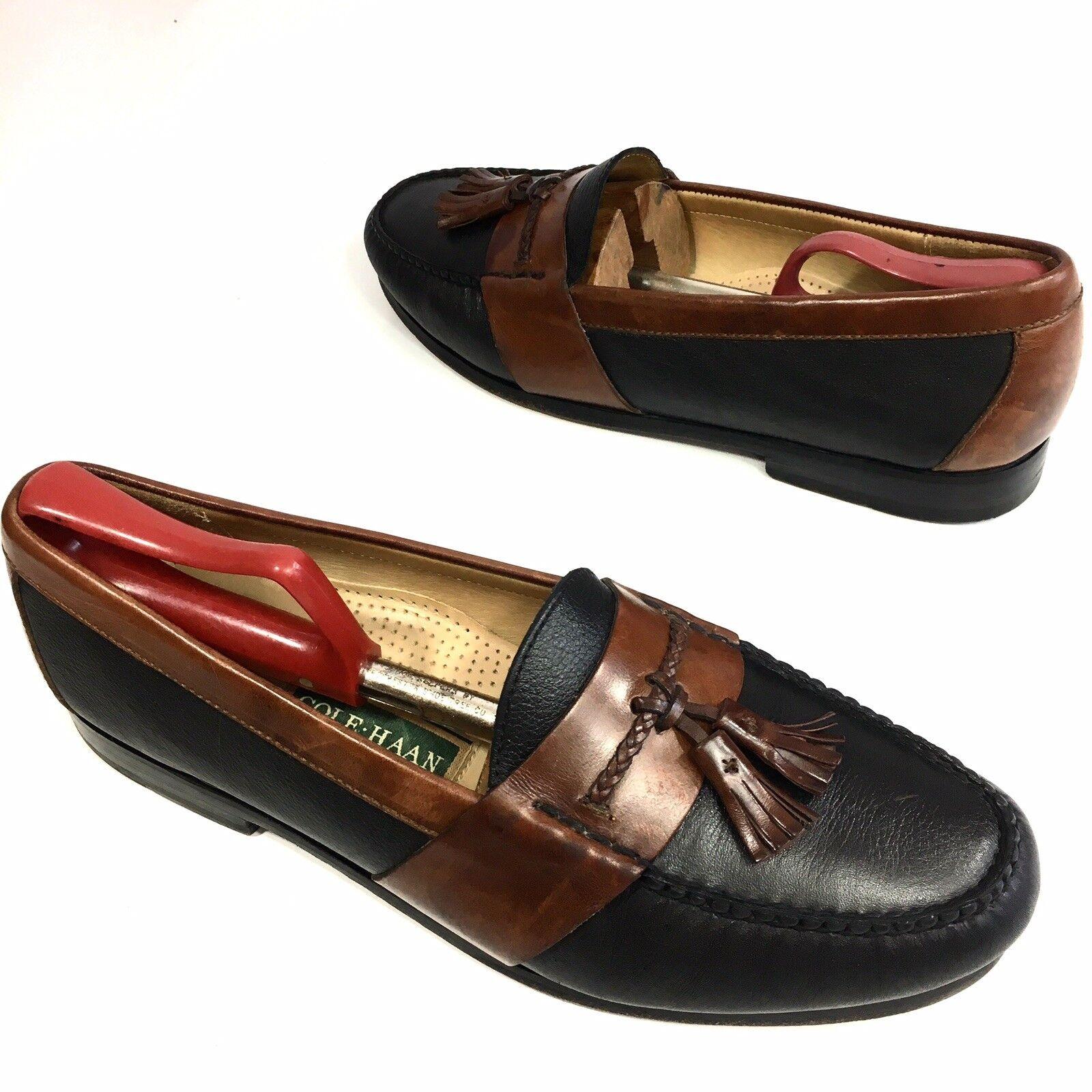 COLE HAAN Men's 2-Tone BLACK Brown Soft Leather DRESS shoes TASSEL Loafers 11 D