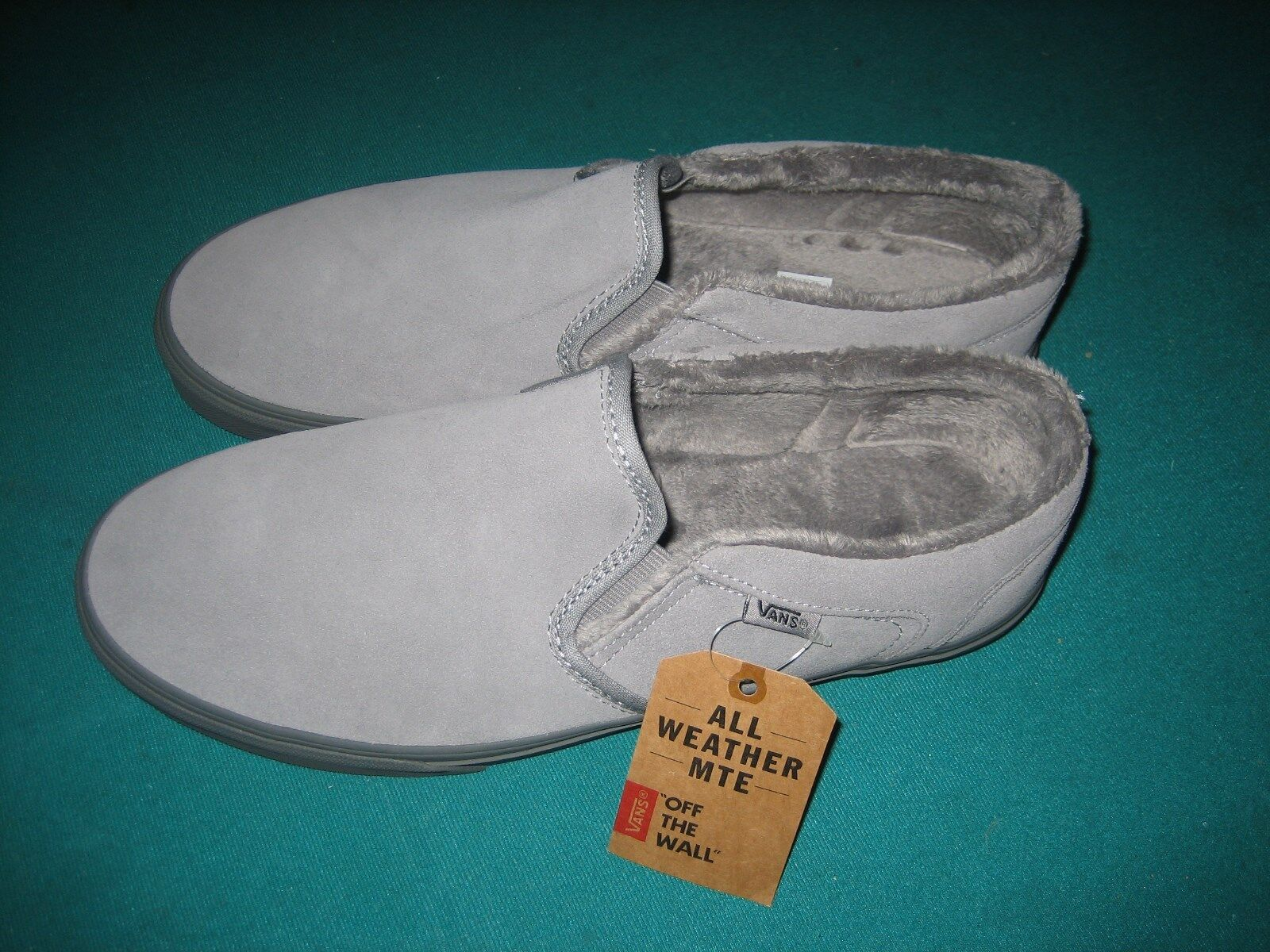 Vans Asher All Weather MTE Gray Suede Plush Lined Slip-on Shoes Mens Size 9