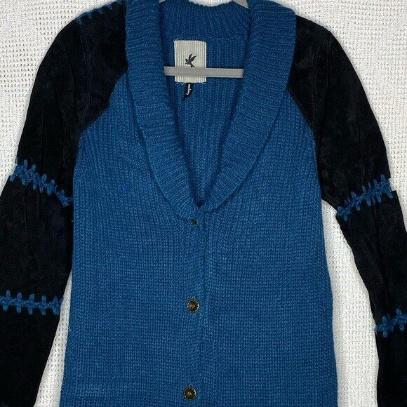 One Teaspoon Cardigan Sweater Suede Sleeves - image 8