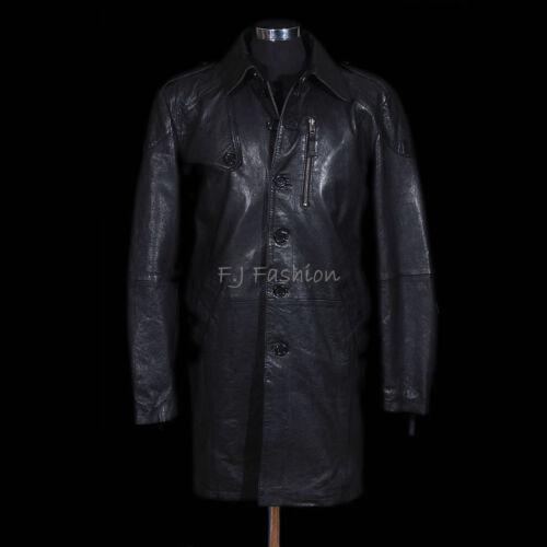 Victor Black Men/'s Knee Length Lambskin Leather Overcoat Trench Coat Mac Jacket