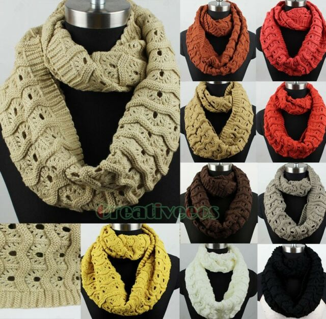 Fashion Wave Hole Knit Infinity Loop Cowl Eternity Endless Casual Scarf New