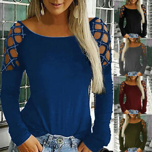 Fashion-Women-Loose-Studded-Long-Sleeve-Hollow-Out-Tops-T-Shirt-Blouses-Casual