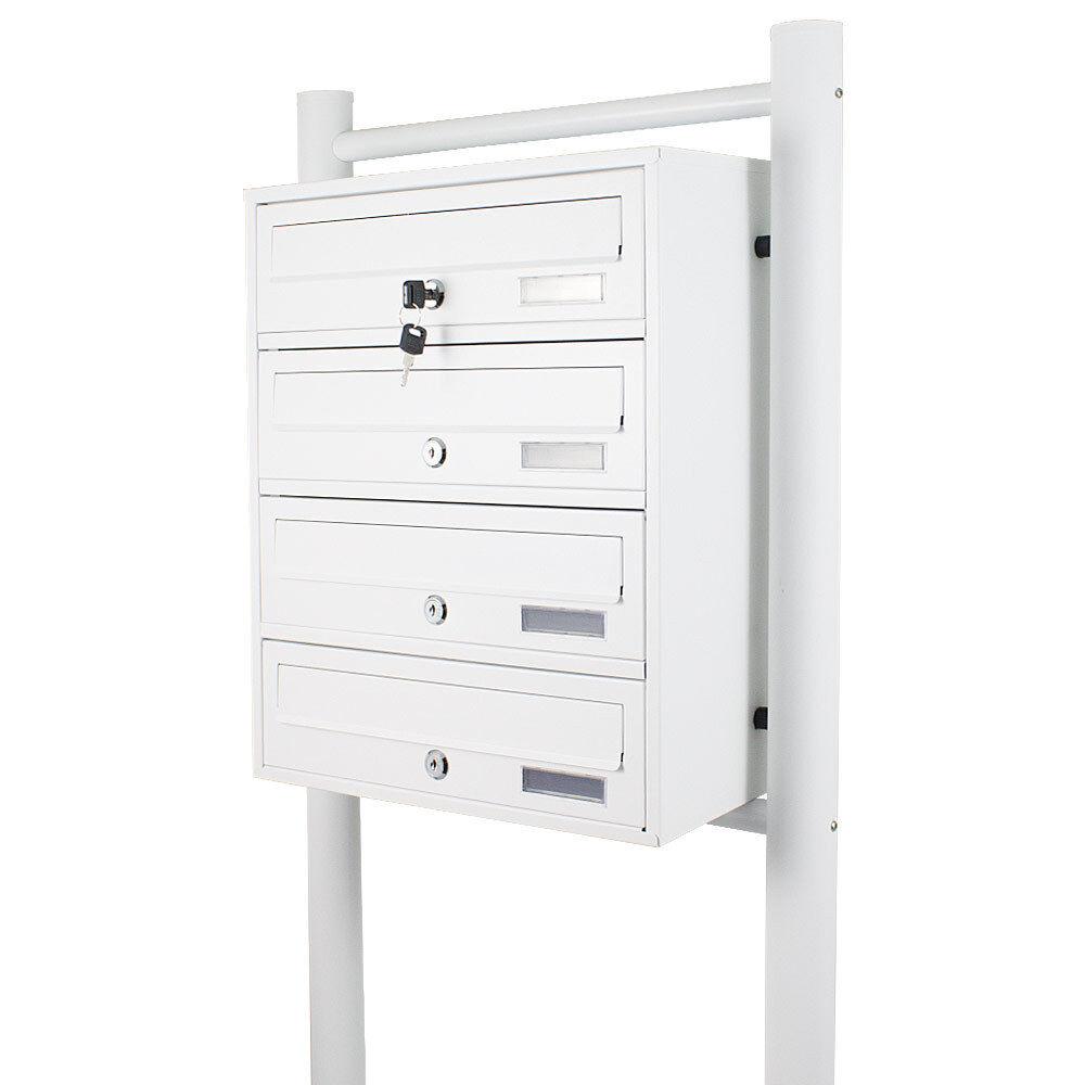 4er Freistehende Stand Briefkastenanlage Postfach Briefkasten mit 4 Fächer Weiß