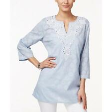 Charter Club 4941 Womens Blue Embroidered Sequinned Slash Tunic Top XL BHFO