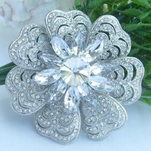 Pretty Bridal Bouquet Flower Brooch Pin w Clear Rhinestone Crystals EE06028C1