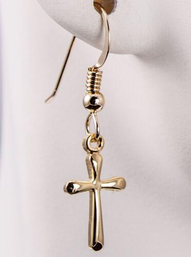 Arrondi religieux Croix Boucles d/'oreilles 14//20 14K Or Jaune Rempli Crochet Dangle UDI