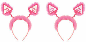 Hen Party Head Boppers with Fur Girls Ladies Night Out Pink Headband Accessories