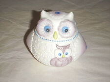 """LEFTON CHINA 2.75"""" OWL CONTAINER PURPLE BLUE GREEN WHITE BISQUE CANDLE JEWELS"""