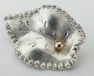 Brosche In Form Eines Blatts Silber Ziseliert Vintage 30er Silver Brooch Gut FüR Energie Und Die Milz