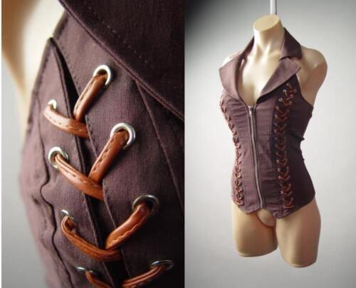 Brown Steampunk Victorian Western Wasteland Fitted Corset Top 140 mv Shirt S M L