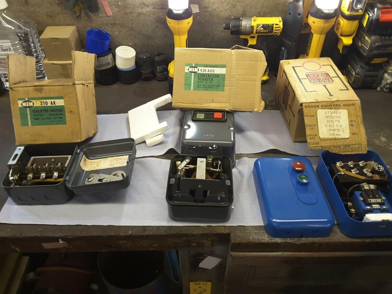 MEM 310 AX ISOLATOR SWITCH/MEM 426 ADS CONTACTOR STARTER/BROOK CONTROL GEAR