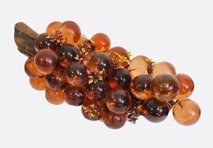 "Vintage Lucite Glass Grape Cluster on Driftwood Amber Orange 15"" MCM"